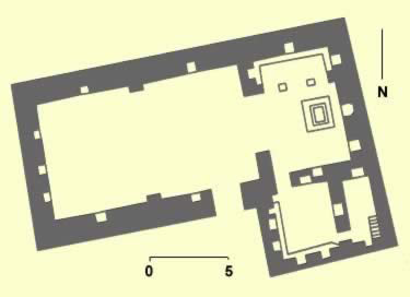 Plan of a church at the  hermitage of Qusur al-Izayla 16 at Kellia, that dates to the second half  of the 7th century