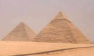 The Pyramid of Khafre and Khufu, with that of Khafre appearing larger
