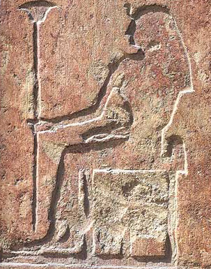 The Queen sits on her throne holding a wadj-scepter and wearing a uraeus