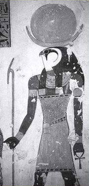 The falcon-headed form of  Khonsu with the disk and crescent moon from the 20th Dynasty tomb of  Montuherkhepeshef in the Vally of the Kings