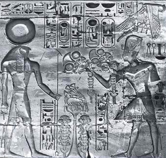 Ramesses IV offers the first fruits of the season to Khonsu in the Khonsu Temple at Karnak