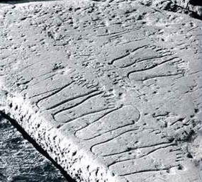 Footprints on the roof of the Temple of Khonsu