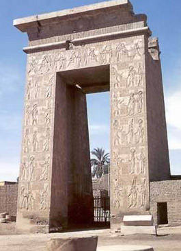 The monumental gateway to the Temple of Khonsu built by Ptolemy III