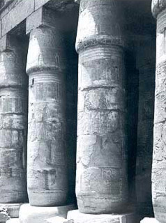 Clonnade of the west portico in the peristyle court in the Temple of Khonsu