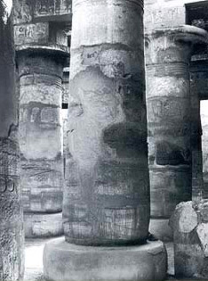 Columns in the hypostyle hall in the Temple of Khonsu