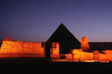 The Pyramid of Khufu and the Great Sphinx in Egypt