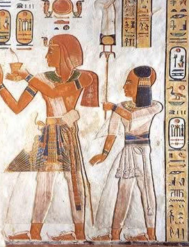 Ramesses II and Khaemwaset in the tomb of Khaemwaset. Here, Khaemwaset wears the sidelocks of youth