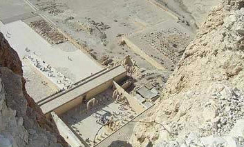 Looking down on the mortuary temple of Hatshepsut from a donkey ride over the ridge