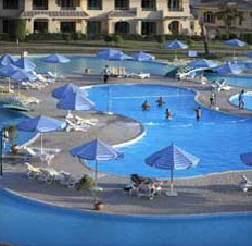 The main swimming pool at the Movenpick Media City