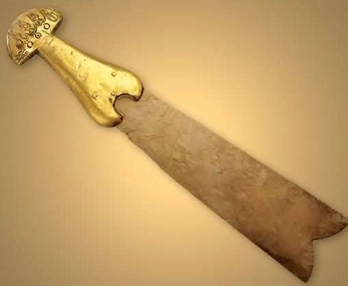 Gold Handled Flint Knife