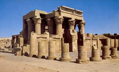 A general view of the courtyard and temple of Sobek and Haroeris at Kom Ombo