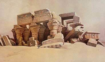 A painting by David Robers Depicting Kom Ombo before it was cleared by Jacques de Morgan in 1893