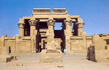 Frontal view of the main temple complex at Kom Ombo