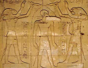 Here, the king is purified by Thoth and Horus