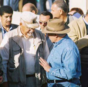 Dr. Hawass and Dr. Schaden exchange thoughts at the beginning of the official opening