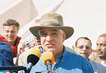 Dr Zahi Hawass speaks to the media.