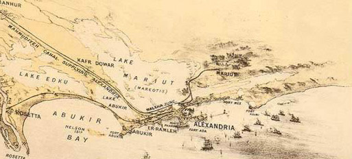 An early map, published in 1882 clearly showing Lake Mariut