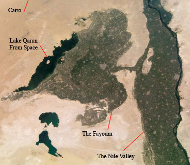 The Fayoum and Lake  Qarun from Space