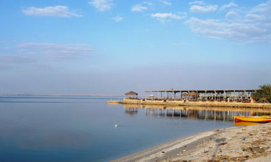 A tourist jetty along the  shore of Lake Qarun