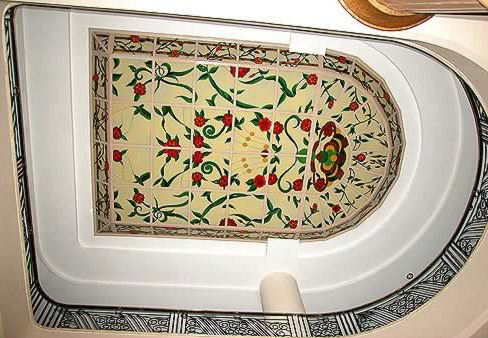 The ceiling in the  accommodation section of the hotel