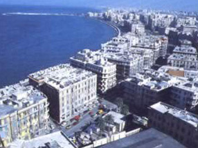 The Bibliotheca Alexandria lies alongside the University of Alexandria Faculty of Arts campus