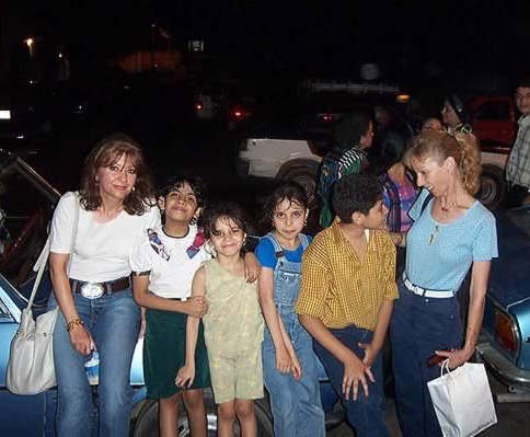 Egyptomaniacs (Linda & Nancy) with Egyptian Kids