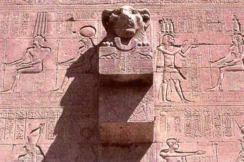 Lion-headed Waterspout on the Rear Wall of the  Temple of Hathor at Dendera