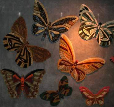 Hand made, colorful rug butterflies everywhere