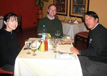 From left to right Manami Yahata, Stephen Harvey and Fumiaki Konno in the Hotel Longchamp's restaurant