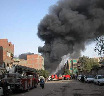 Approaching the fire in  Cairo