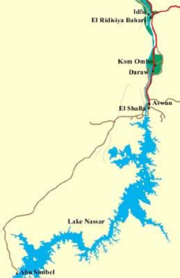 Map of Lake Nasser