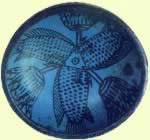 Votive Offering with Fish and Blue Water Lily Pattern