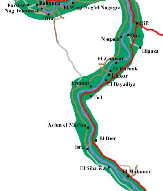 The Nile Valley from South of Qena to North of Idfu
