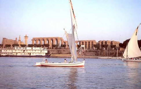Boats on the Nile at Luxor Temple