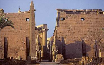 Another view of the Ramesses Pylons with the Obelisk and statues