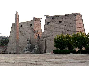 The entrance Pylon of Luxor Today