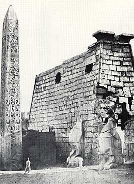 A photograph by Francis Frith during the mid 1800s of the entrance pylon, showing its crumbling state at that time