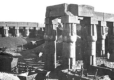 A photograph by Francis Frith during the mid 1800s of the Amenhotep Court, which was apparently being cleared at the time