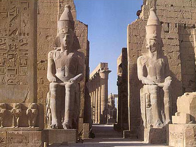 The two great seated statues just outside the first Pylon at Luxor Temple