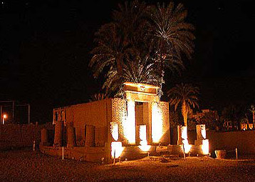 A view of the small Roman chapel dedicated to Serapis in front of the Luxor Temple