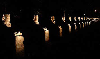 The Avenue of Sphinxes at night in front of the Luxor Temple in Luxor, Egypt