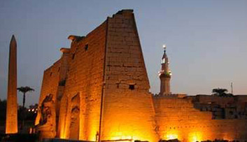 Night Photo of the Luxor Pylon built by Ramesses the Great