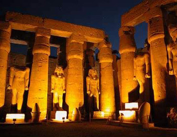 Night Shot of the Ramesses II Courtyard