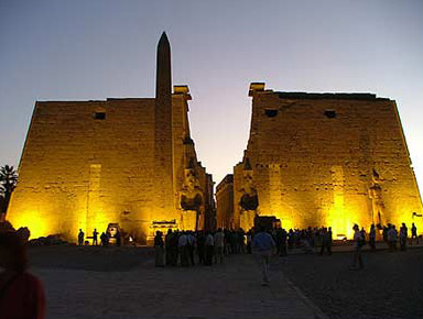 An evening view of the First Pylon at the Temple of Luxor