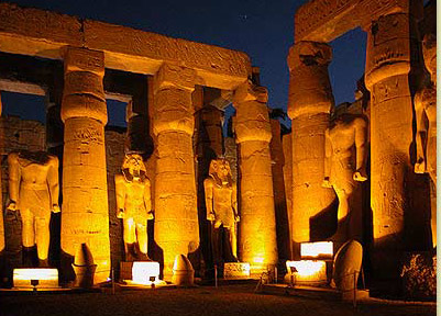 columns and monumental statues in the Courtyard of Ramesses II