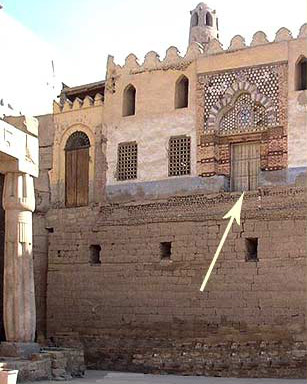A view of the Mosque ofAbu el-Haggag. The arrow indicates the old portal interance when it was built originally built. Watch out for that first step!