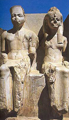 A colossal statue of Amenhotep III and his wife
