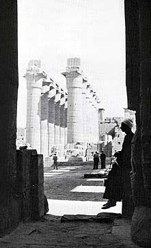 An older view of the colonnade of Amenhotep III at the Temple of Luxor