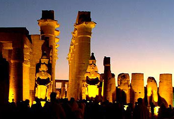 An evening view of Amenhotep III's colonnade