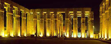 The Sun Court of Amenhotep III at night